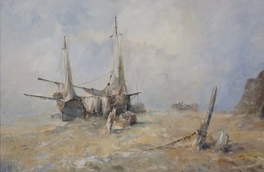 Marine oil painting of sailing ship beached on the East Yorkshire coast