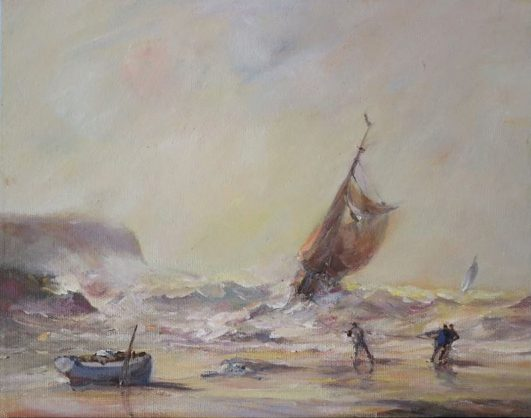 Oil painting of a fishing smack in the surf