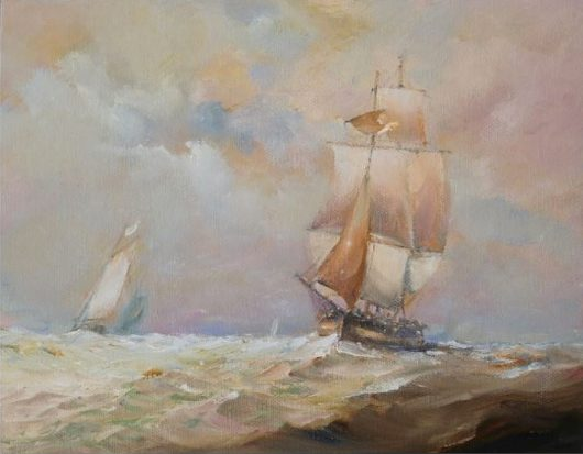 Oil painting of a sailing ship entering the Humber