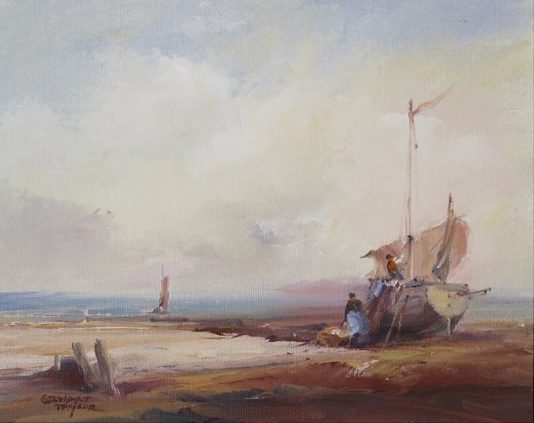 Oil painting of a fishing vessel undergoing repairs at low tide