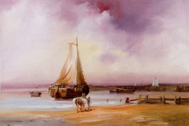 Ethereal skies along the Holderness Coast. Oil painting by Stewart Taylor