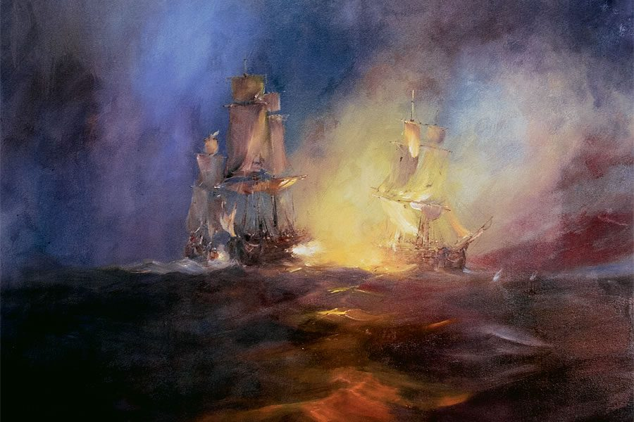 A powerful and dramatic depiction of a battle between ships. Oil painting by Stewart Taylor