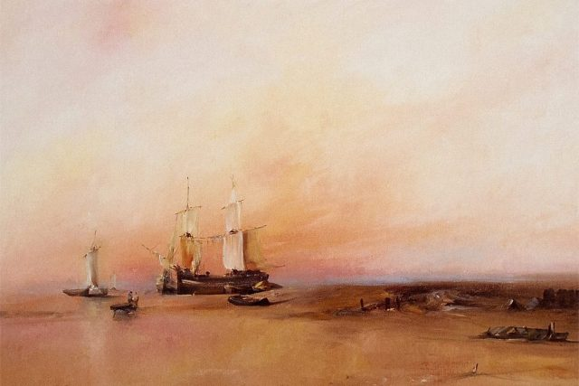 Delicate oil painting of a ship overlooking a warm, inviting sunset by Stewart Taylor.