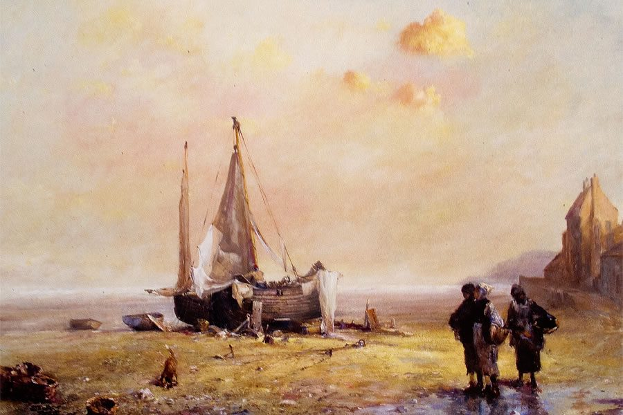 Marine oil painting of mussel gatherers walking alongside a beached ship by Stewart Taylor
