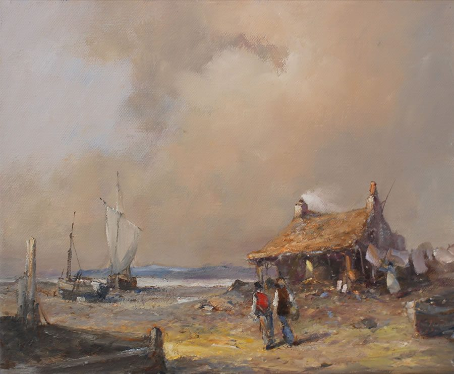 Oil painting of pastoral scene on the Humber