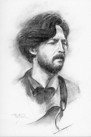 Eric Clapton from an original charcoal by Stewart Taylor