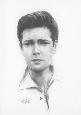Young Cliff Richard from an original charcoal by Stewart Taylor