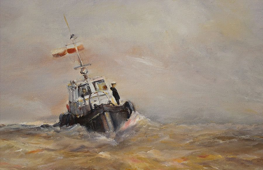 Marine oil painting by Stewart Taylor – detail