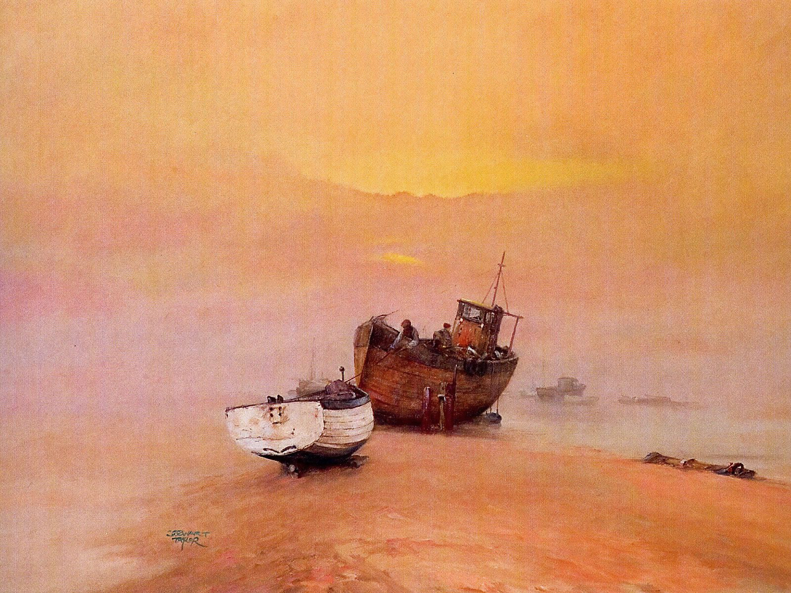 Oil painting of fishermen mooring their boats at sunset