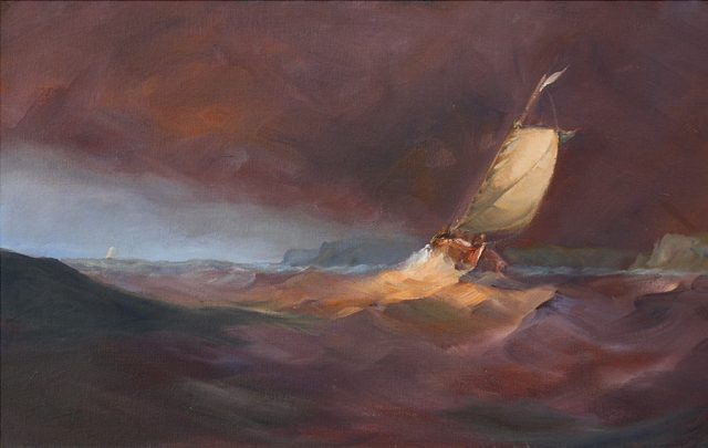 Oli painting of clipper battling against heavy seas
