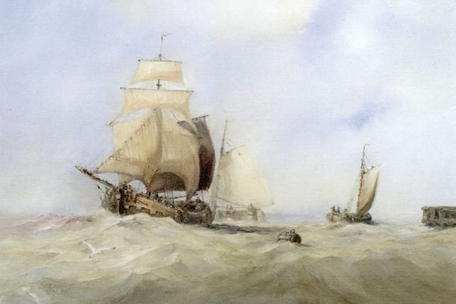 Marine oil painting of a Dutch boat entering the River Hull by Stewart Taylor