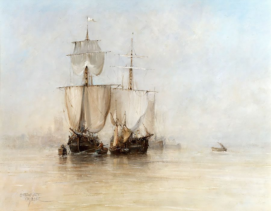 Oil painting of two Dutch sailing boats at Victoria Pier in Hull