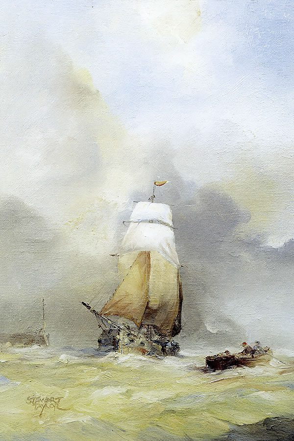 Marin oil painting of a Dutch sailing ship