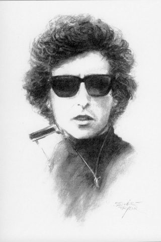 Bob Dylan from an original charcoal by Stewart Taylor