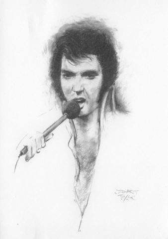 Elvis On Stage 70's from an original charcoal by Stewart Taylor