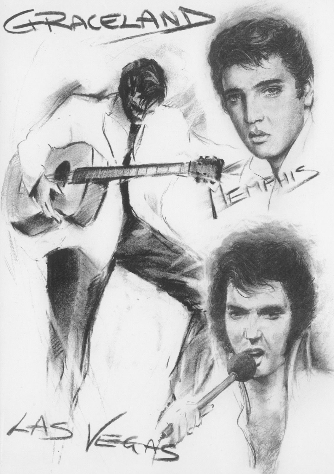 Elvis from an original charcoal by Stewart Taylor