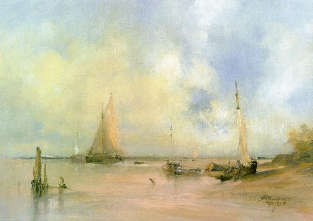 Oil painting of fishing boats at evening time