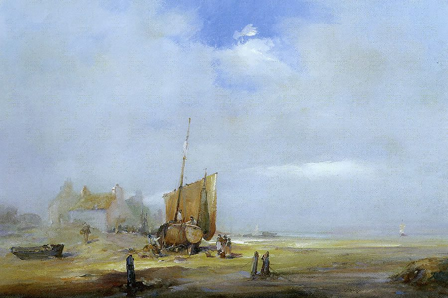 Painting of a beached fishing boat with fisherfolk