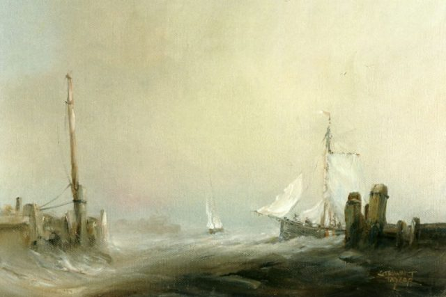 Marine oil painting of a fishing smack entering the River Hull by Stewart Taylor