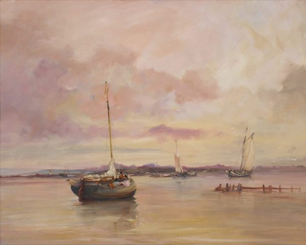 Marine oil painting of a flood tide at Trinity Sands on the Humber in East Yorkshire