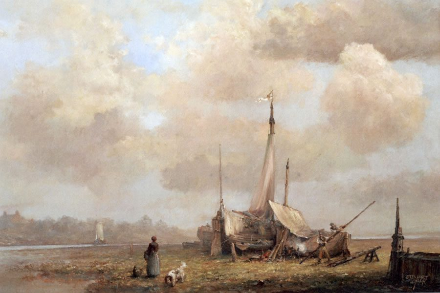 Marine oil painting of sailing ships at Hedon Haven in East Yorkshire