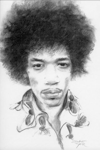Jimi Hendrix from an original charcoal by Stewart Taylor