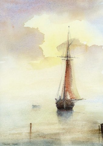 Watercolour of sailing boat