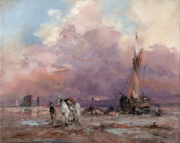 Oil painting of low tide at Sunk Island on the Humber