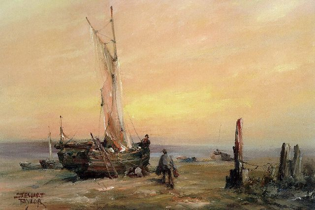 Painting of fishermen preparing to set sail