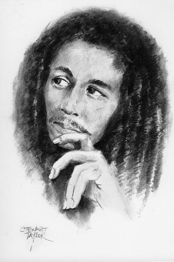 Bob Marley from an original charcoal by Stewart Taylor