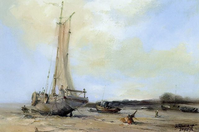 Oil painting of moored fishing boats by Stewart Taylor