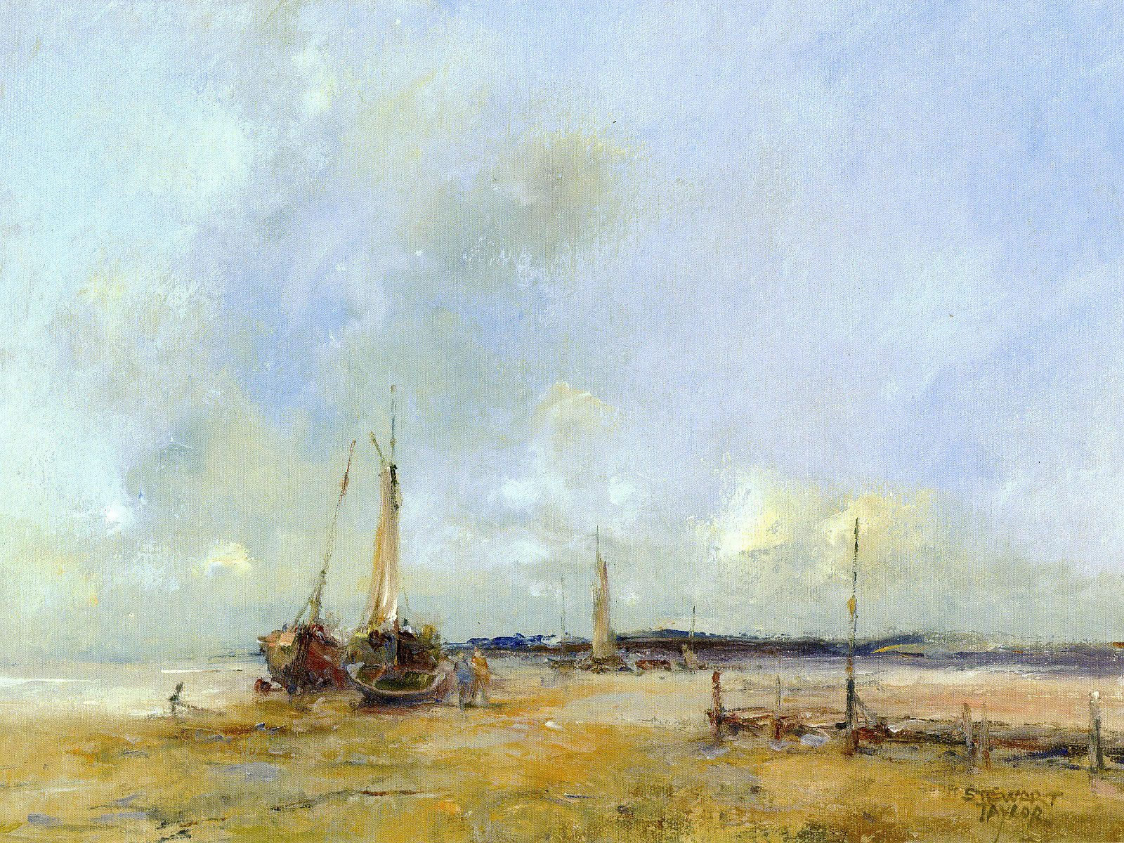 Oil painting of small boats moored on the beach