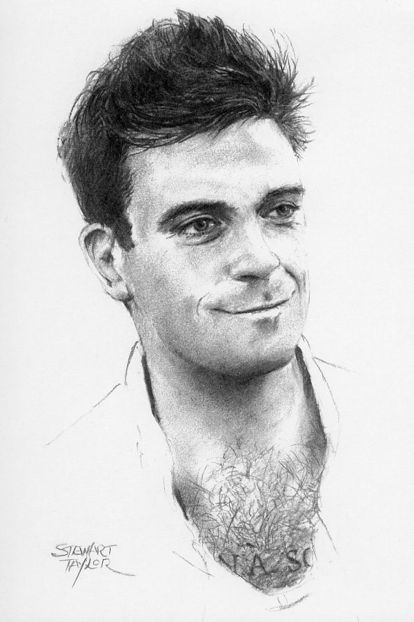 Robbie Williams from an original charcoal by Stewart Taylor