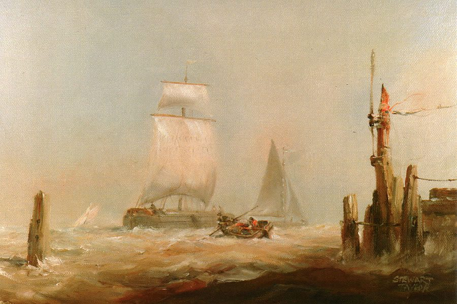 Oil painting of maritime landscape capturing dramatic waves against a sailing ship by Stewart Taylor.