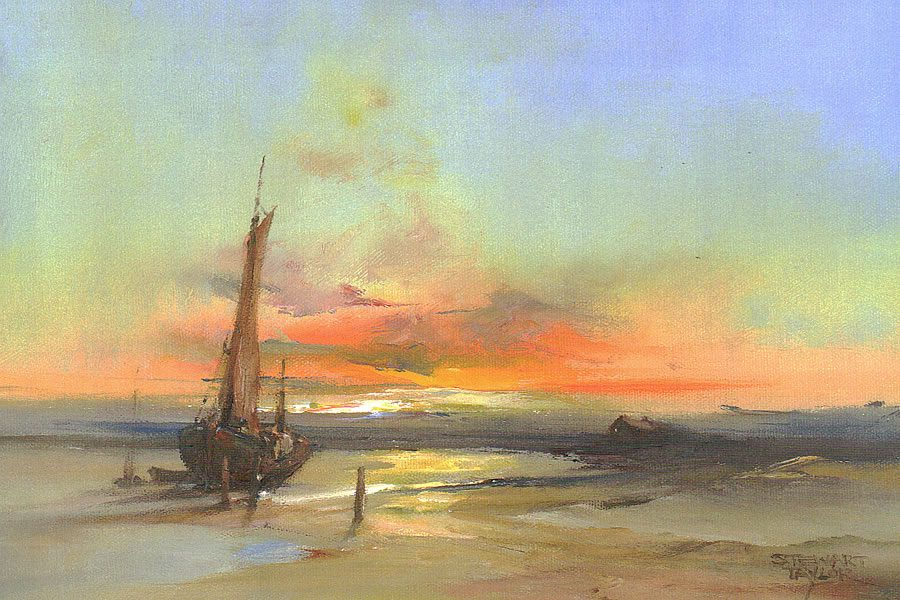 Oil painting of a bewitching sunset overlooking peaceful shores by Stewart Taylor.