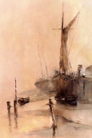 Misty marine landscape of moored sailing ships. Oil painting by Stewart Taylor.