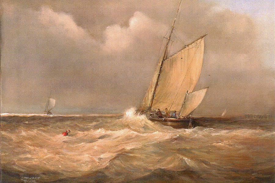 Dramatic seascape showing sailing ships battling high waves on the River Hull. Oil painting by Stewart Taylor.