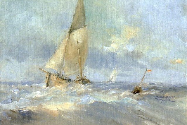 Marine oil painting of sailing ships pitching in the wind. Oil painting by Stewart Taylor.