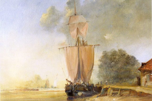 Oil painting of a Galliot Discharging against a bright sunset by Stewart Taylor.