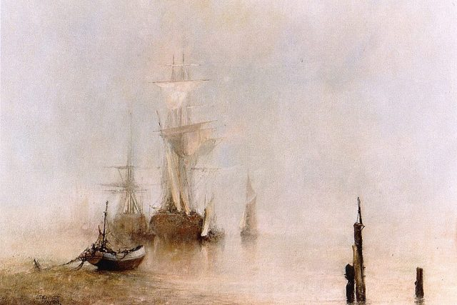 Seascape overlooking ships obscured by an early morning mist. Oil Painting by Stewart Taylor.