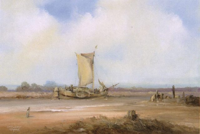 Maritime landscape of Dutch sail boat along the River Hull. Oil painting by Stewart Taylor.