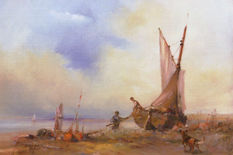 Oil Painting of sailing vessel undergoing repairs along peaceful shores by Stewart Taylor.