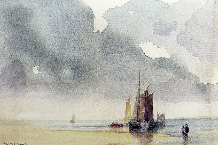 Watercolour painting of fishing boats beneath cloudy skies