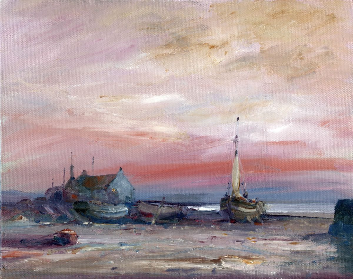 Oil painting by Stewart Taylor showing fishing boats on the beach at Kilnsea