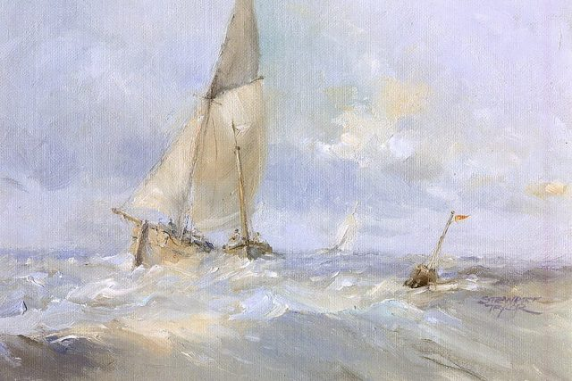 Painting of boats at full sail in choppy seas