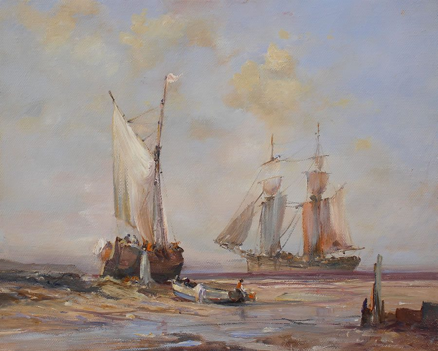 Oil painting of sailing vessels at Spurn Point