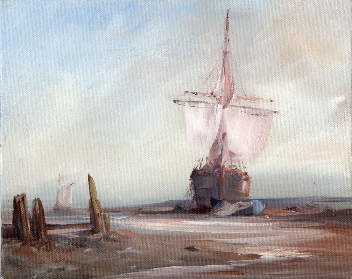 Oil painting of a merchant vessel aground at high tide