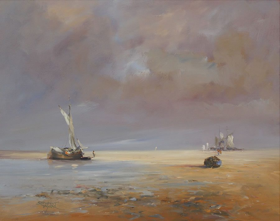 Oil painting of merchant sailing ships off Spurn