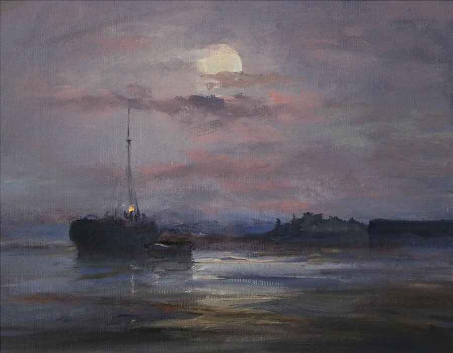 Oil painting of peaceful nighttime scene with moored ship