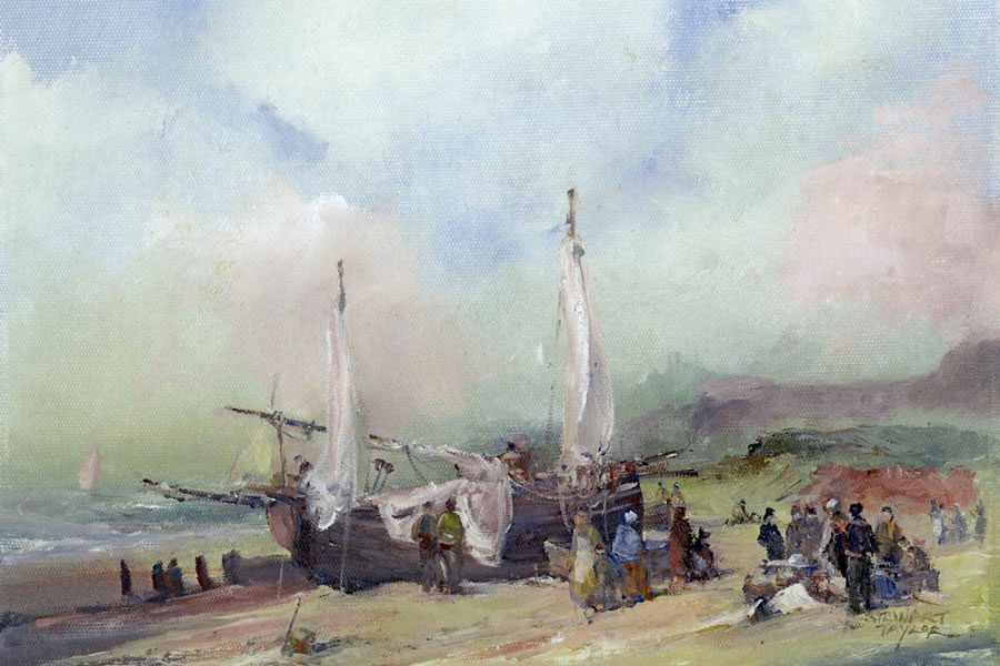 Marine painting of sailing ships unloading the day's catch, by Stewart Taylor.